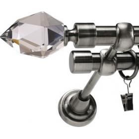 Karnisz metalowy 19 mm podwójny antracyt